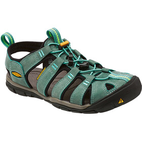 Keen Clearwater CNX Leather Sandaler Damer, mineral blue/yellow